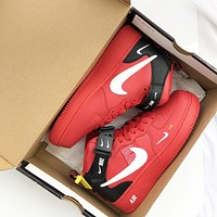 Nike Air Force1 AF1 High-top red joint-name board shoes for men and women