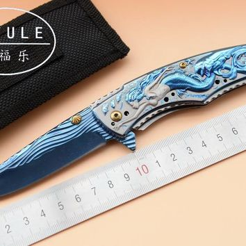 JUFULE Original Made Mermaid Blue anodized folding camping hunt pocket Survival EDC tools Tactical outdoor flipper kitchen knife
