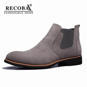 Men boots suede leather large size 37-44 ankle chelsea boots men martin winter western kanye chelsea boots men slip on shoes