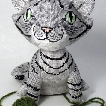 Gray Tabby Cat 3D Cross Stitch Animal Doll and Sewing Pattern PDF