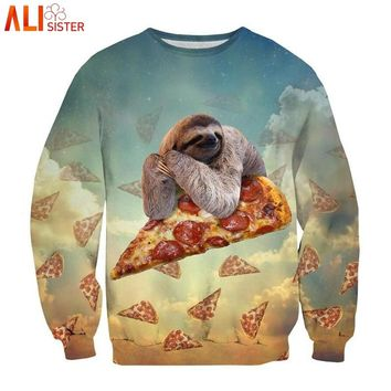 Alisister Animal Sweatshirt Pizza Sloth Hoodies Swearshirts Men Women's Unicorn Cat Hoodie Winter Autumn 3d Galaxy Clothes