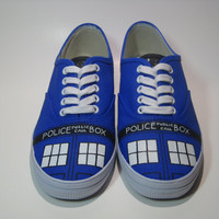 Tardis Shoes, Hand Painted Doctor Who Vans Shoes, Hand Painted Doctor Who Canvas Sneakers