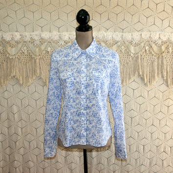 Womens Western Shirt Snaps Boho Cowgirl Blue Floral Print Cotton Top Long Sleeve Blouse American Eagle Medium Large Womens Vintage Clothing
