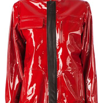 Anthony Vaccarello colour block lacquered jacket
