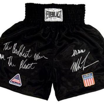 ICIKJNG Mike Tyson Signed Autographed 'The Baddest Man On The Planet' Boxing Trunks (ASI COA)