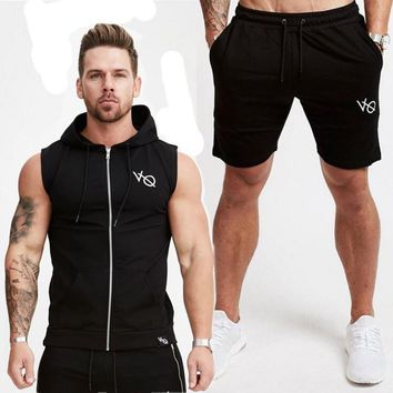 2018 Mens Sleeveless Hoodies Fashion Casual Hooded Sweatshirt Men bodybuilding Tank Top 2 Piece Sets Gyms waistcoat vest Tops