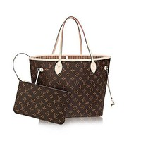 Authentic Louis Vuitton Neverfull MM Monogram Canvas Beige Handbag Article:M40995