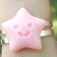 Pastel Kawaii Pink Little Star Ring, Star Cabochon Fairy Kei Ring