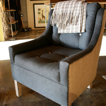 Burlap and Hemp upholstered reading Chair  Vintage Nail by robrray
