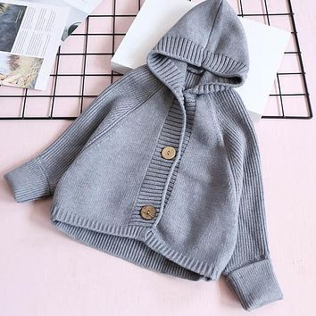 Girls Sweater Print Autumn Winter Kids Fashion Knitted Cardigan Sweater Children Hooded Clothing