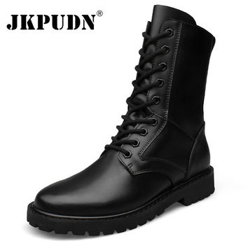 Tactical Military Combat Boots Men Genuine Leather US Army Hunting Trekking Camping Mountaineering Breathable Winter Black Shoes