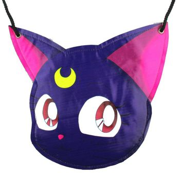 Sailor Moon Luna Kitty Cat Face Shaped Vinyl Cross Body Bag