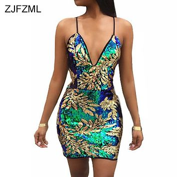 ZJFZML Sexy Gold Green Sequins Dress 2018 Women V Neck Sleeveless Party Dress Luxury Backless Sequined Dress Sundress Vestidos