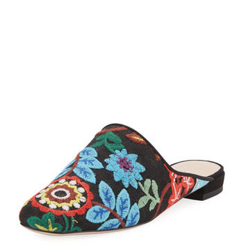 Stuart Weitzman Pipe Mulearky Flat Embroidered Mule