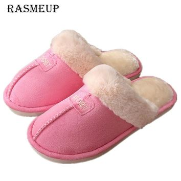 RASMEUP Women Winter Home Slippers Solid Comfortable Cotton Warm Indoor Slippers Adults Women's Plush Flip Flops Home Shoes