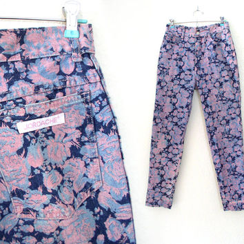Vintage 80s High Waist Floral Print Jordache Skinny Jeans - Pink and Blue Rose Pattern Women's Denim Trousers - Size 6 7