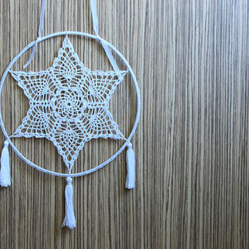 Dream catcher,BOHO wedding decor,Dream catcher wall hanging,Bohemin rustic wedding,Rustic gift,Crochet doily Star dreamcatcher,Sweet dreams