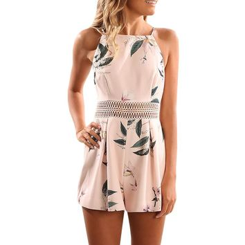 Women Hollow Out Print Leaves Romper Pink Playsuits Sleeveless