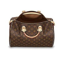 DCCK7BE Louis Vuitton Monogram Crosss Body Leather Handles Handbag Canvas Handbag Speedy Bandouliere 35 Article: M41111