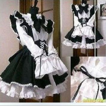 Gothic Lolita Cosplay Costume Home Maid Sissy Dress Custom Made Free Shipping - Beauty Ticks