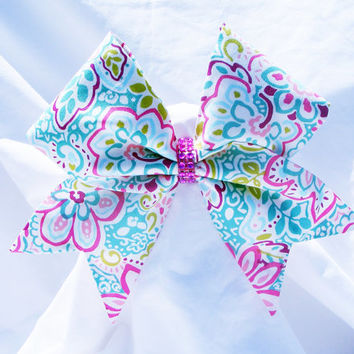 Cheer bow-  All fabric sewn Flower print- Cheerleading bow-Cheerleader bow- dance bow- softball bow- cheerbow