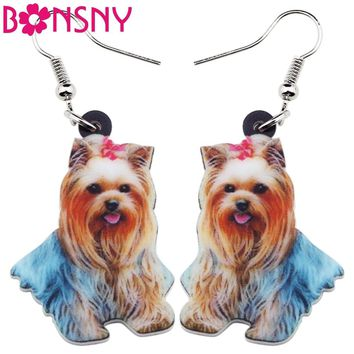 Bonsny Drop Acrylic Lovely Shih Tzu Dog Earrings Big Long Dangle Fashion Animal Jewelry For Girls Women Ladies Accessories Pets