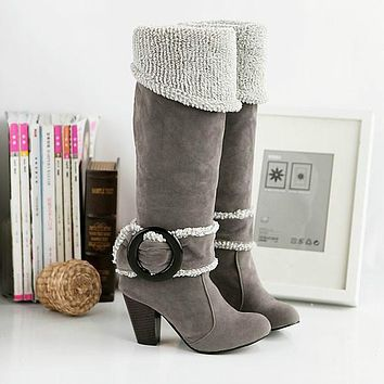 Flock Tall Boots Chunky Heel for Women 8630