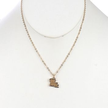 State Of Louisiana Textured Metal Charm Necklace
