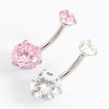 ac PEAPO2Q Fashion Navel piercing Double round Zircon pretty cute simple belly button ring Nickel-free Christmas gift