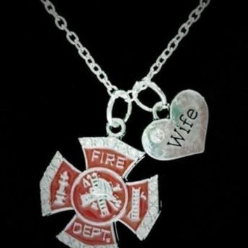 Red Maltese Cross Fireman Firefighter Wife Fire Department Gift Necklace