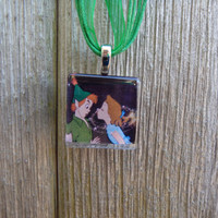 Disney Kiss Collection Peter Pan and Wendy Glass Pendant and Ribbon Necklace