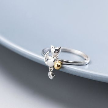 Bamos Fashion Female Cat Ring Fashion Simple Real 925 Sterling Silver Open Rings For Women Vintage Wedding Animal Jewelry