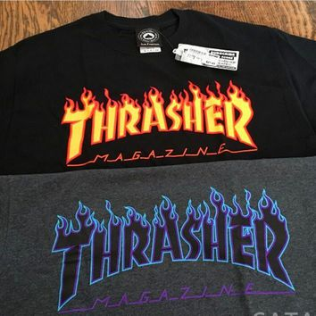 Thrasher Magazine Flame Personality T-shirt print short sleeve top-3
