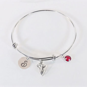 Hand Stamped Figure Skating Initial Charm Bracelet Bangle, Ice Skate Bracelet with Sterling Silver Ice Skate Swarovski Crystal Birthstone