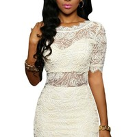 White Embroidered Lace V Back Club Party Dress