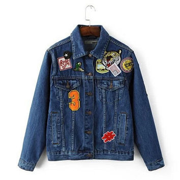 Embroidery Appliques Letter Tiger Casual Denim Jacket   Women Single Buttons Bomber Jacket Coat Femme Jean Outerwear