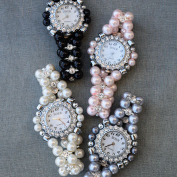 Vintage Style Pearl Watch - Multiple Colors