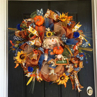 Scarecrow Mesh Wreath, Fall Deco Mesh Wreath, Autumn Mesh Wreath, Front Door Wreath, Deco Mesh Wreath, Scarecrow Wreath, Double door wreath