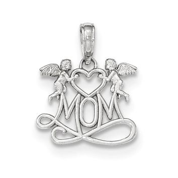 14k White Gold Mom Below Two Angels Pendant, 17mm