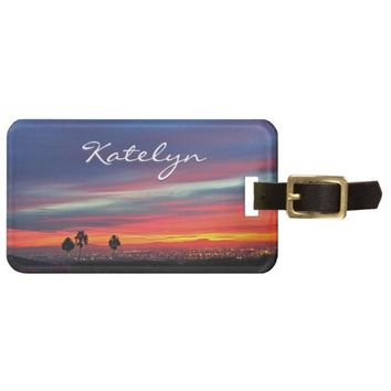 Orange blue sunrise photo custom name luggage tag