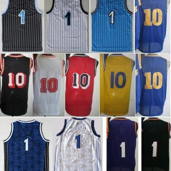 2016 Basketball Throwback Jerseys #1 #10 Classical Basket ball Shirt Sport Sportswear With Player Name Team Logo Pallacanestro Black Blue
