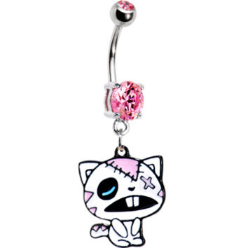Pink Gem Zombie Cat Belly Ring | Body Candy Body Jewelry