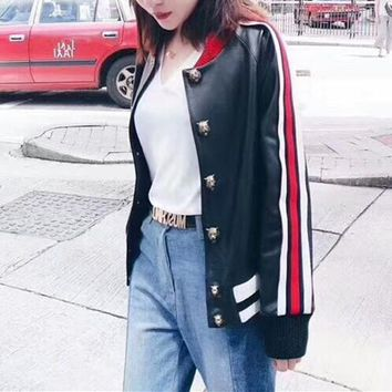 """""""Gucci"""" Women Cool Personality Multicolor Stripe Embroidery Letter Long Sleeve Baseball Clothes Cardigan Coat"""