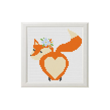 Fox Cross stitch art fox Gute love foxy Animal cross stitch pattern flowers heart happy  day Counted cross stitch pattern xstitch pdf