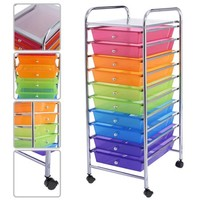 Costway 10 Drawer Rolling Storage Cart Scrapbook Paper Office School Organizer Color - Walmart.com