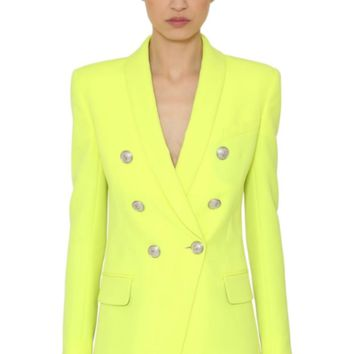 Double Breasted Gold Button Blazer - NEON (LIMITED EDITION)