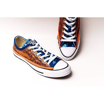 Two Tone Orange Sapphire Blue Starlight Sequin Low Top Sneakers