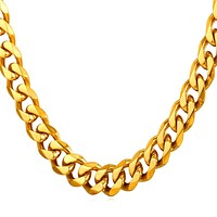 Stainless Steel Gold Cuban Link Chain