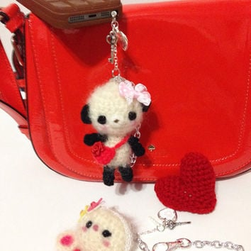 Cell Phone Accessory Cell phone Dust Plug Amigurumi Bag Charm Amigurumi Panda Crochet Panda Key Chain Headphone Jack Dust Plug Kawaii Gift