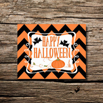 Happy Halloween! Black & Orange Chevron - printable poster